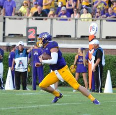 Holton Ahlers was ECU's leading rusher with 63 yards and a touchdown on eight carries. (Photo by Al Myatt)