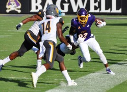 Juwan Moody was hit out of bounds on this play as A&T drew 113 yards in penalties. (Photo by Al Myatt)