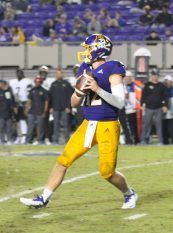 True freshman Holton Ahlers (12) threw for 406 yards and a touchdown. (Photo by Al Myatt)