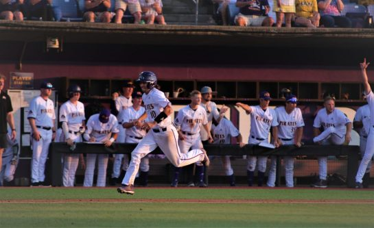 Brady Lloyd comes home with a run in the fourth inning for ECU. (Photo/Dunn Area Sports/Paul Burgett)