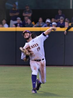 ECU right fielder Alec Burleson comes up throwing to home in the sixth inning for the third out. (Photo/Dunn Area Sports/Paul Burgett)