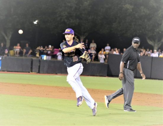 Pirate second baseman Brady Lloyd makes a throw to first in ECU's second game on Sunday. (Photo/Dunn Area Sports/Paul Burgett)