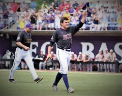 Jake Agnos acknowledges a standing ovation as he heads to the dugout in the ninth. (Photo/Dunn Area Sports/Paul Burgett)