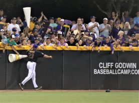 ECU coach Cliff Godwin acknowledges fans in The Jungle. (Photo/Dunn Area Sports/Paul Burgett)