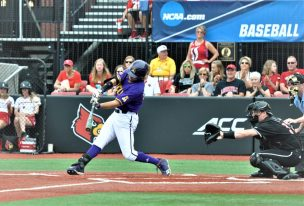 Alec Burleson connects for a double and the first hit of Friday's Super Regional contest. (Photo by Al Myatt)