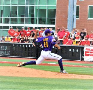 East Carolina junior left-hander Jake Agnos retired the first 10 Cardinals he faced. (Photo by Al Myatt)