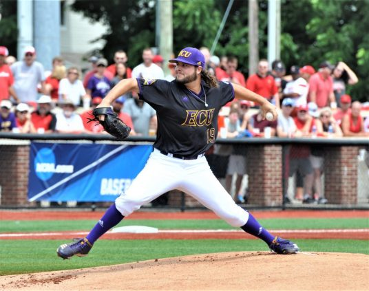 Alec Burleson started on the mound for East Carolina on Saturday. (Photo by Al Myatt)