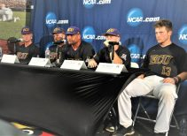 From left at ECU's postgame news conference are Evan Voliva, Sam Lanier, coach Cliff Godwin, Turner Brown and Jake Washer. (Photo by Al Myatt)