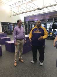 ECU Director of Athletics Jon Gilbert and Director of Strength and Conditioning and Greenville native John Williams in the weight room in the Murphy Center. (Photo by Bethany Bradsher)