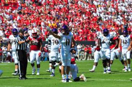 Wide receiver Blake Proehl signals an ECU first down on their opening drive. The 75 yard drive was capped by a fumble at the goal line, which the Wolfpack recovered. (W.A. Myatt photo)