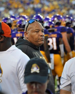 ECU strength and conditioning director John Williams Jr. is an active presence on the sideline (Photo by Al Myatt)