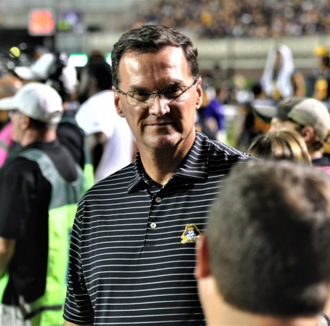 ECU athletic director Jon Gilbert was on the sideline during the Thursday night game on ESPN. (Photo by Al Myatt)