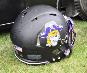 East Carolina played with a logo from yesteryear on its helmets. (Photo by Al Myatt)