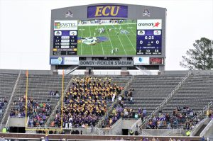 The Boneyard section at the East end of Dowdy-Ficklen Stadium was depleted with students on Thanksgiving break. (Photo by Al Myatt)