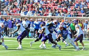 Trace Christian carries for East Carolina on Saturday at SMU. (Photo by Al Myatt)