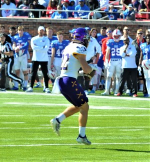 Tyler Snead makes a catch for a first down for East Carolina. (Photo by Al Myatt)
