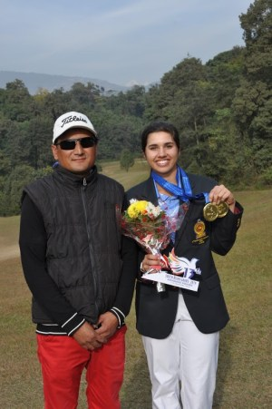 Grace with her caddy, Narayan Thapa