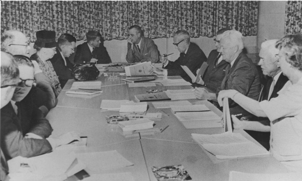 Robert Morgan at a Board of Trustees meeting