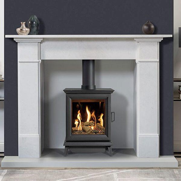 Gazco Sheraton 5 Gas Stove in a fireplace surround