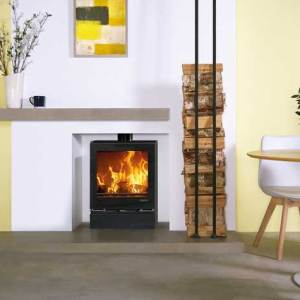 vision medium slimline woodburning with optional glass top plate glass plinth and gloss black flue pipe mi