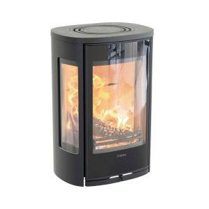Contura 856wg wood burning stove wall mounted in black