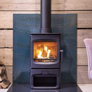 Charnwood Aire 3 on log store stand in black