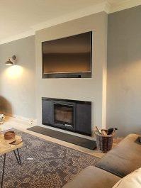 Contura i6 wood burning fire with granite riven slate hearth