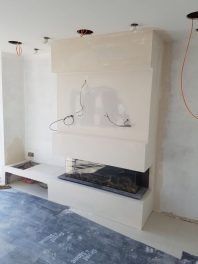 Gas fire false chimney breast after installation by Bonfire