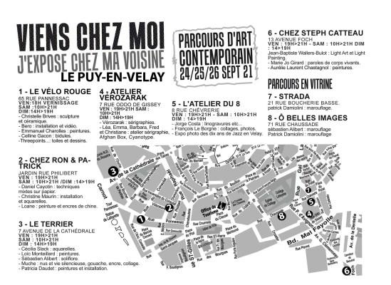Plan de Viens Chez Moi au Puy-en-Velay, parcours d'art contemporain