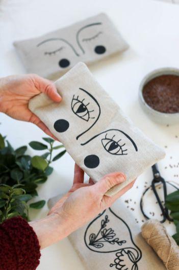 bouillotte sèche en graines de lin yeux masque apaisant compresse chaude (19)