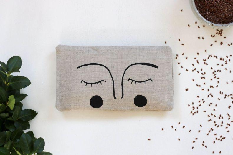 bouillotte sèche en graines de lin yeux masque apaisant compresse chaude (5)