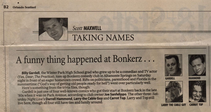 Billy Gardell Review by Scott Maxwell in the Orlando Sentinel