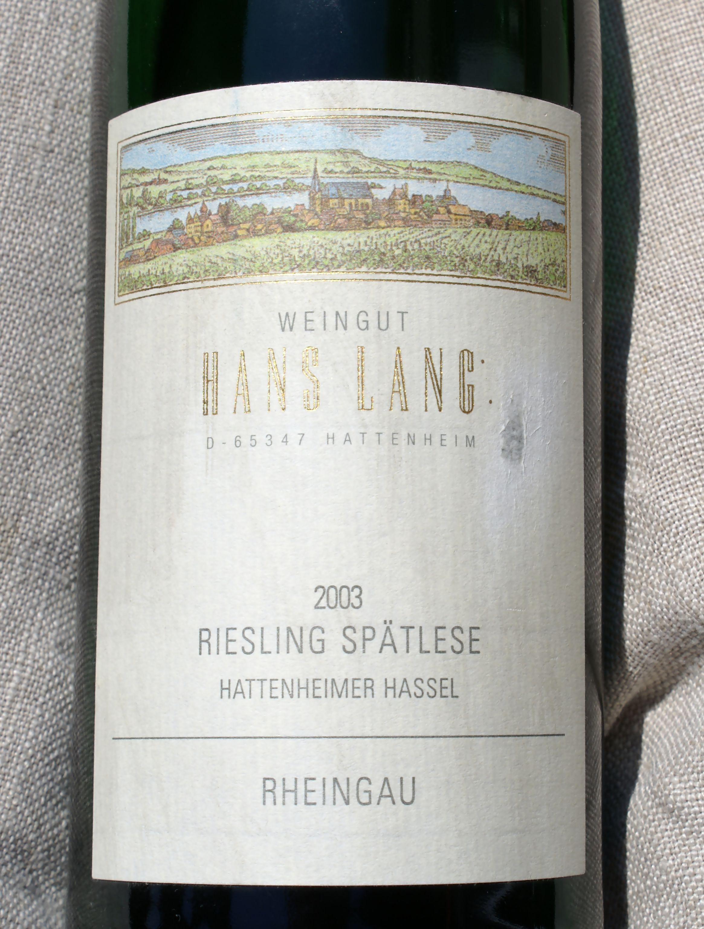Hans Lang Riesling Hassel Spatlese 2003 (1)