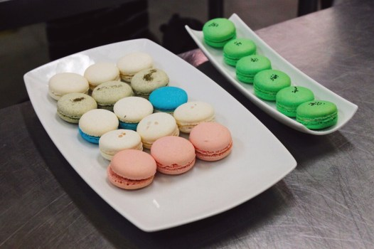 And a snack! A plate full of savoury macarons, and some of our kiwi macarons.