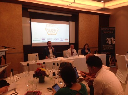 Philippines Property Awards 2016 shortlist press conference on 15 March 2016; on the panel is Terry Blackburn, founder of Asia Property Awards and managing director of PropertyGuru International; chairman of the judges Lindsay J Orr, COO of Jones Lang LaSalle Philippines; and Marie Grace Ofamen, representing title sponsor Hansgrohe
