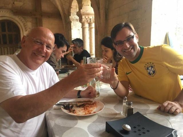 Marcelo Fonseca meditator from Brazil with Fr. Laurence in Bonnevaux