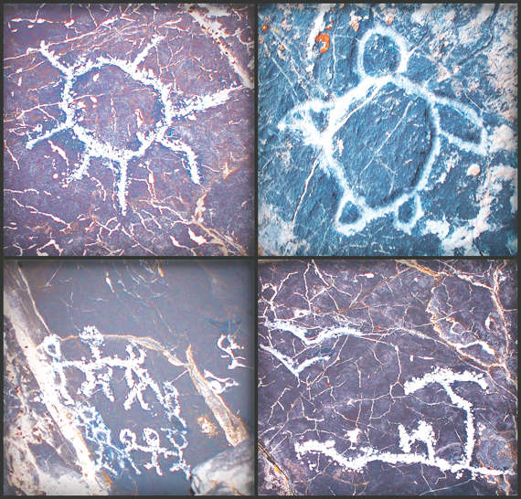 Poignant petroglyphs carved in stone at Story Rock by the Polynesian settlers of Iosepa include (clockwise) the sun, a sea turtle — a Hawaiian symbol of longevity, peace and humility — an island with palm trees and seabirds, and a family circle or ohana. -photography / Clint Thomsen - montage / Troy Boman