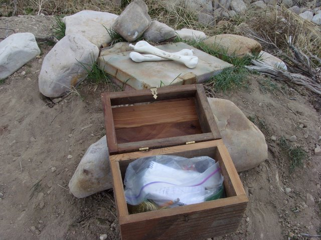 An geocache that will remain nameless sits near the vault it was discovered in (photo by Clint Thomsen)