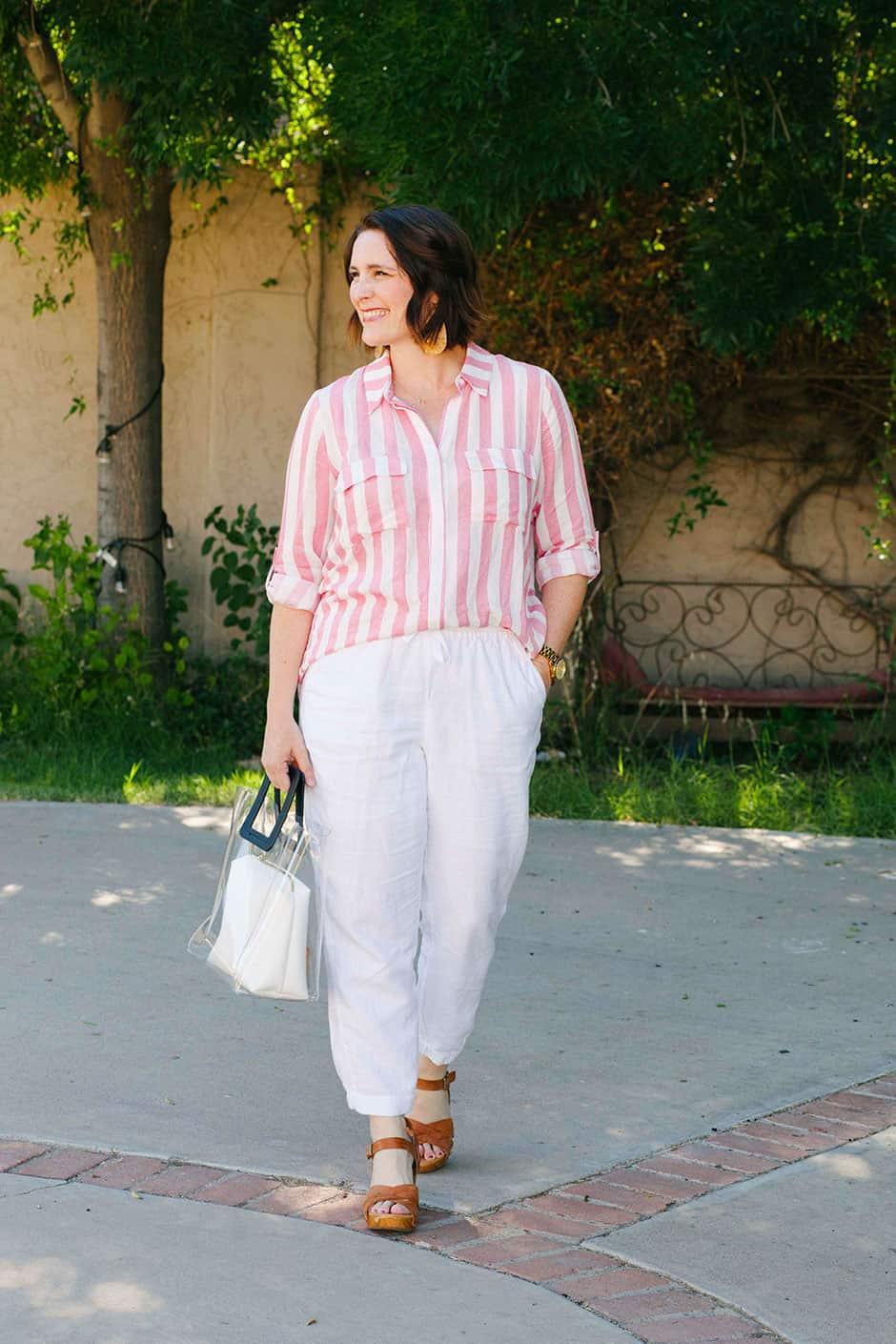 striped top white pants