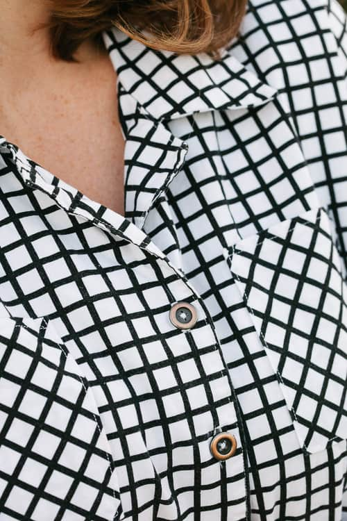 checked button down blouse how to sew