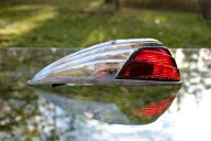 1950s chrome cab light red glass lens rear view mount