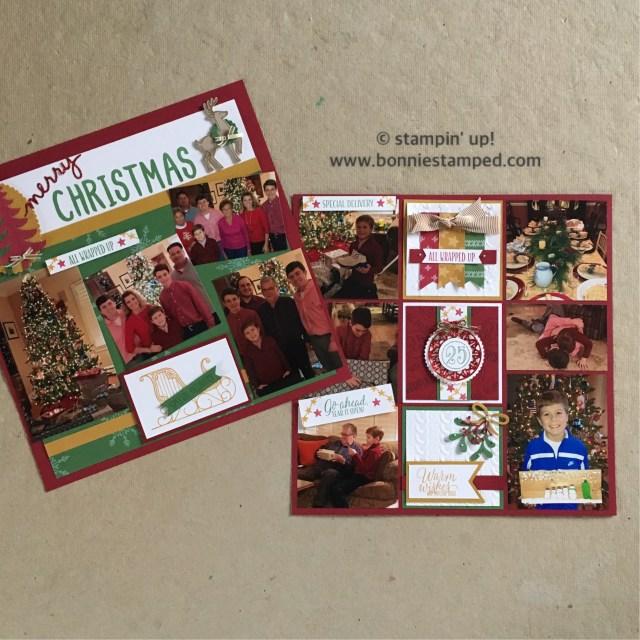 #santassleigh #tinoftags #scrapbooklayouts #scrapbookpages #booniestamped #stampinup #merriestwishes #holiday2016catalog