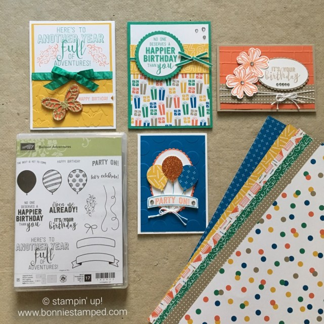 #partyanimal #balloonadventures #occasions2017 #happybirthdaycards #stamps #ink #punches