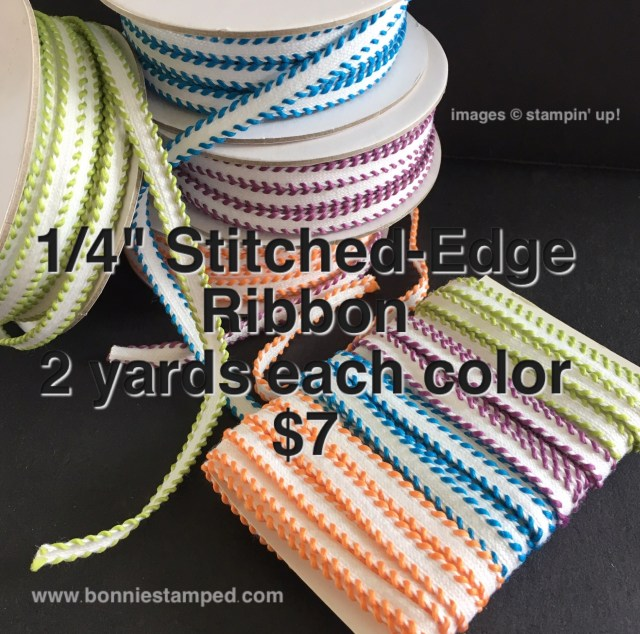 #stitchedribbon #bonniestamped #stampinup #productshare #ribbonsplit