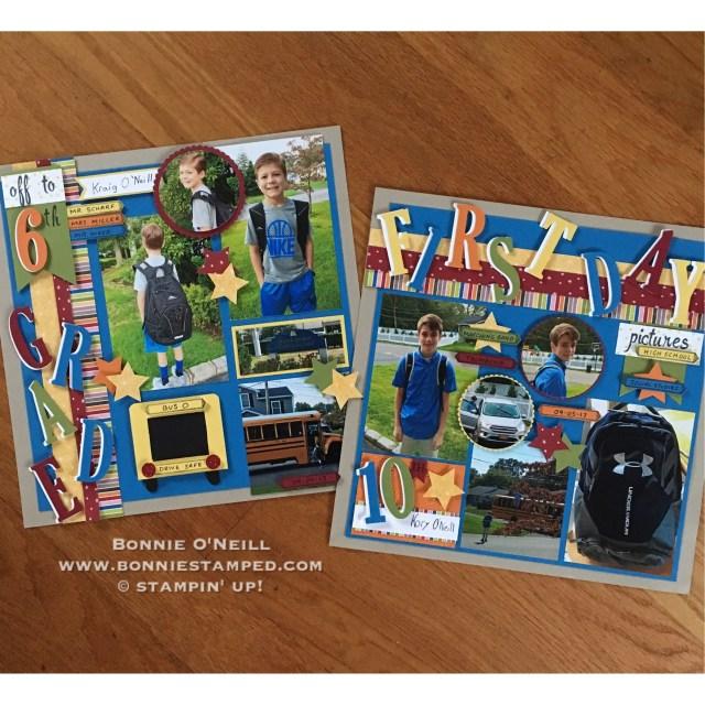 #backtoschool #scrapbookpages #bonniestamped #stampinup