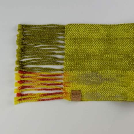 Bonny Claith Autumn Leaves scarf olive yellow-0123-min