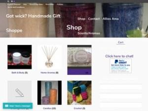 screenshot of https://gotwick.com Got wick? Handmade Gift Shoppe