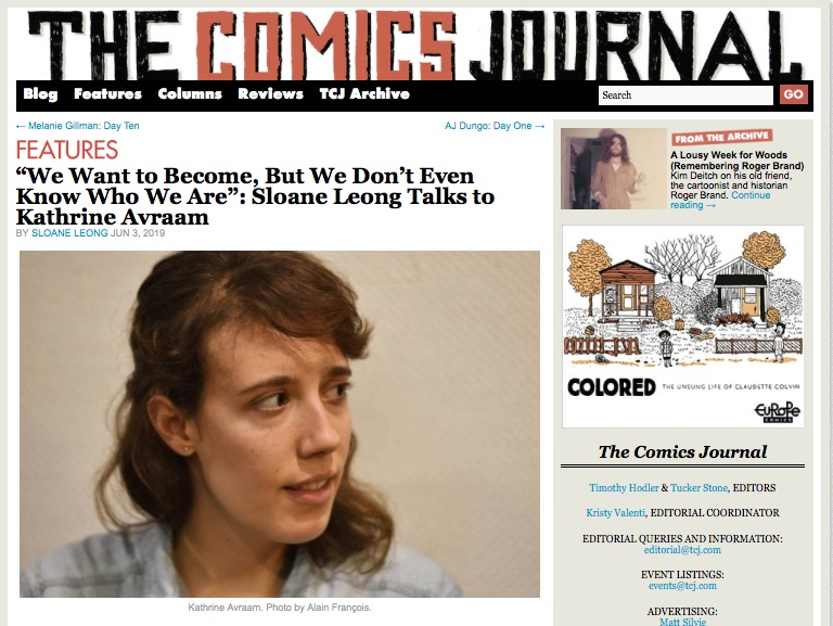 Kathrine Avraam sur The comics journal