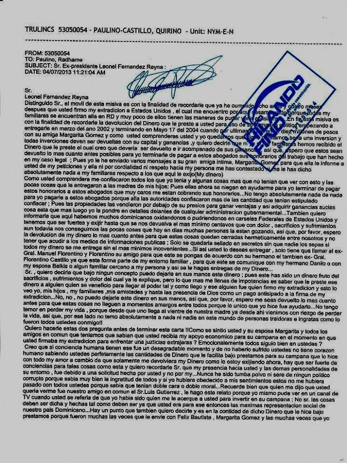 Carta de Quirino, remitida a Leonel Fernandez