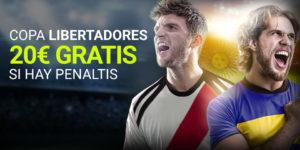 Copa libertadores 20€ gratis si hay penaltis en Luckia